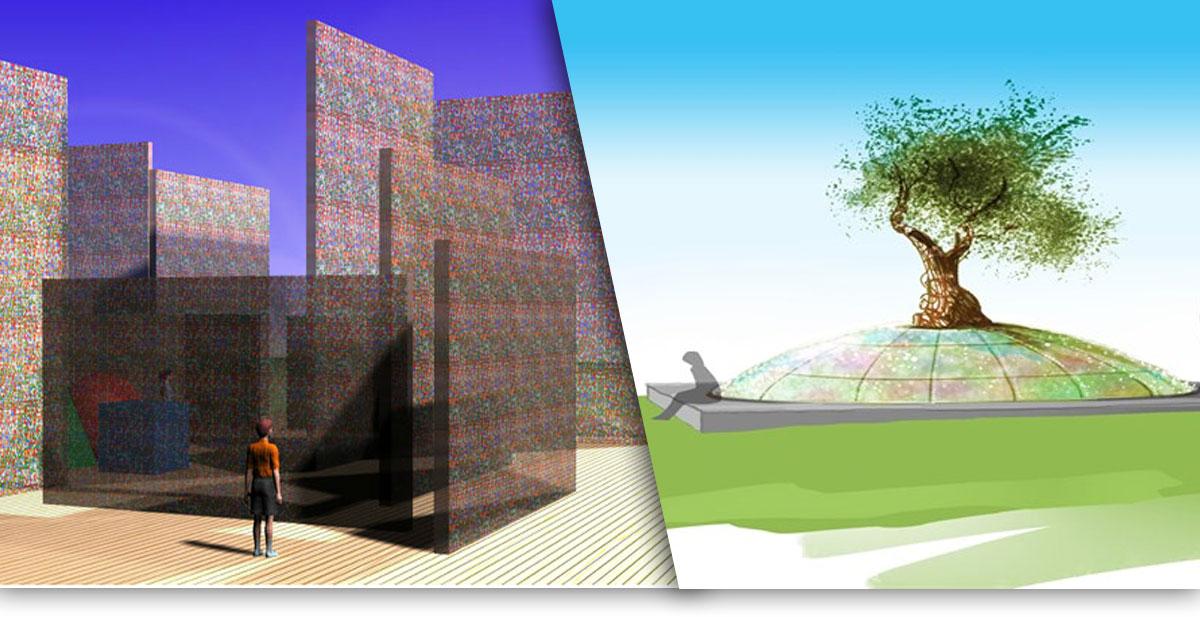 משמאל: הדמיית אנדרטת הגולות המקורית של טל סניור. מימין: אנדרטת הגולות אשר יצאה לפועל של אפי חוג'סטה. צילומי מסך.