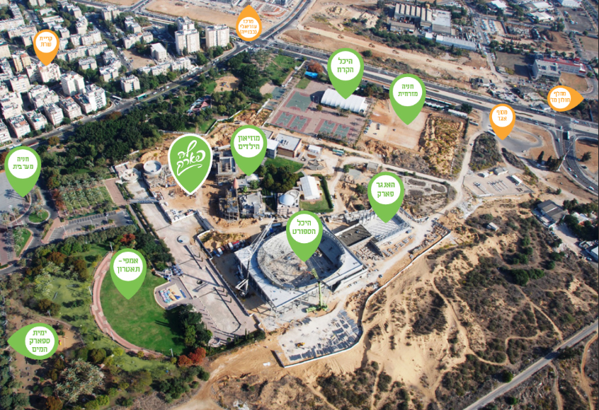 """מבט על על מתחם לה פארק מהאוויר וגם מפה. צילום: החברה לבידור ובילוי חולון בע""""מ"""